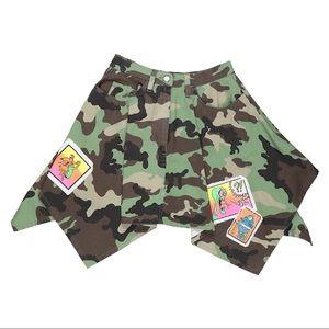 Jeremy Scott Military Camo Patchwork Denim Skirt